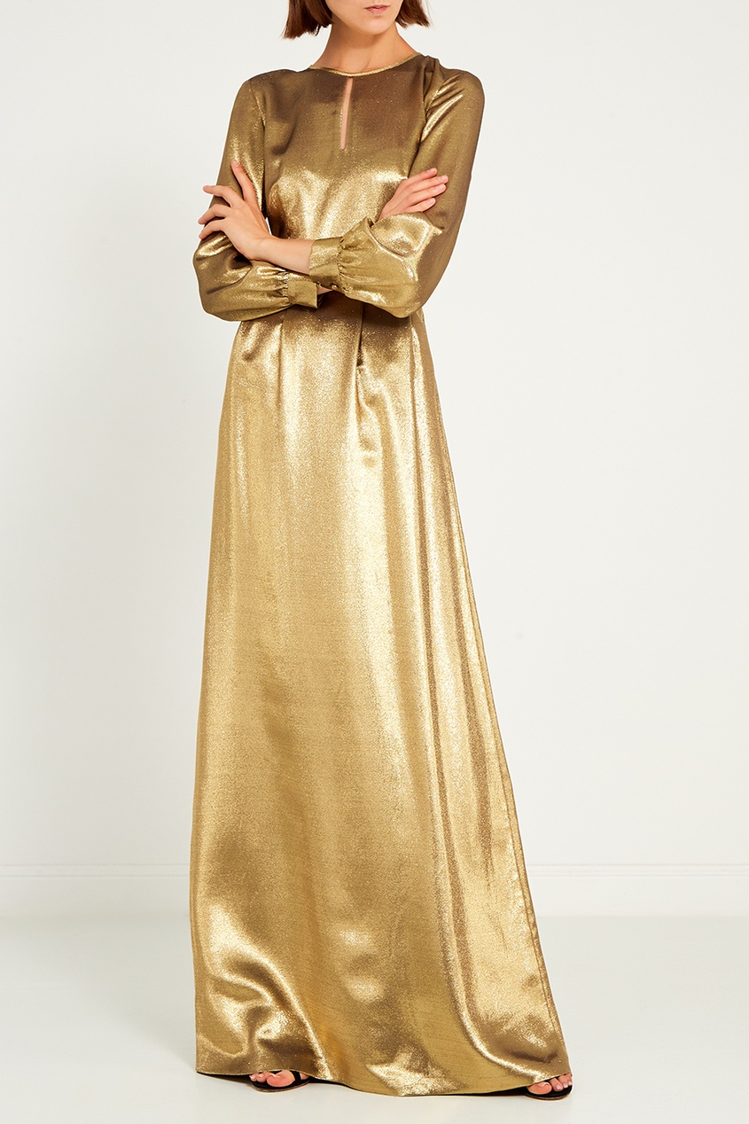 Vilshenko | Золотой Золотистое платье-макси | Clouty