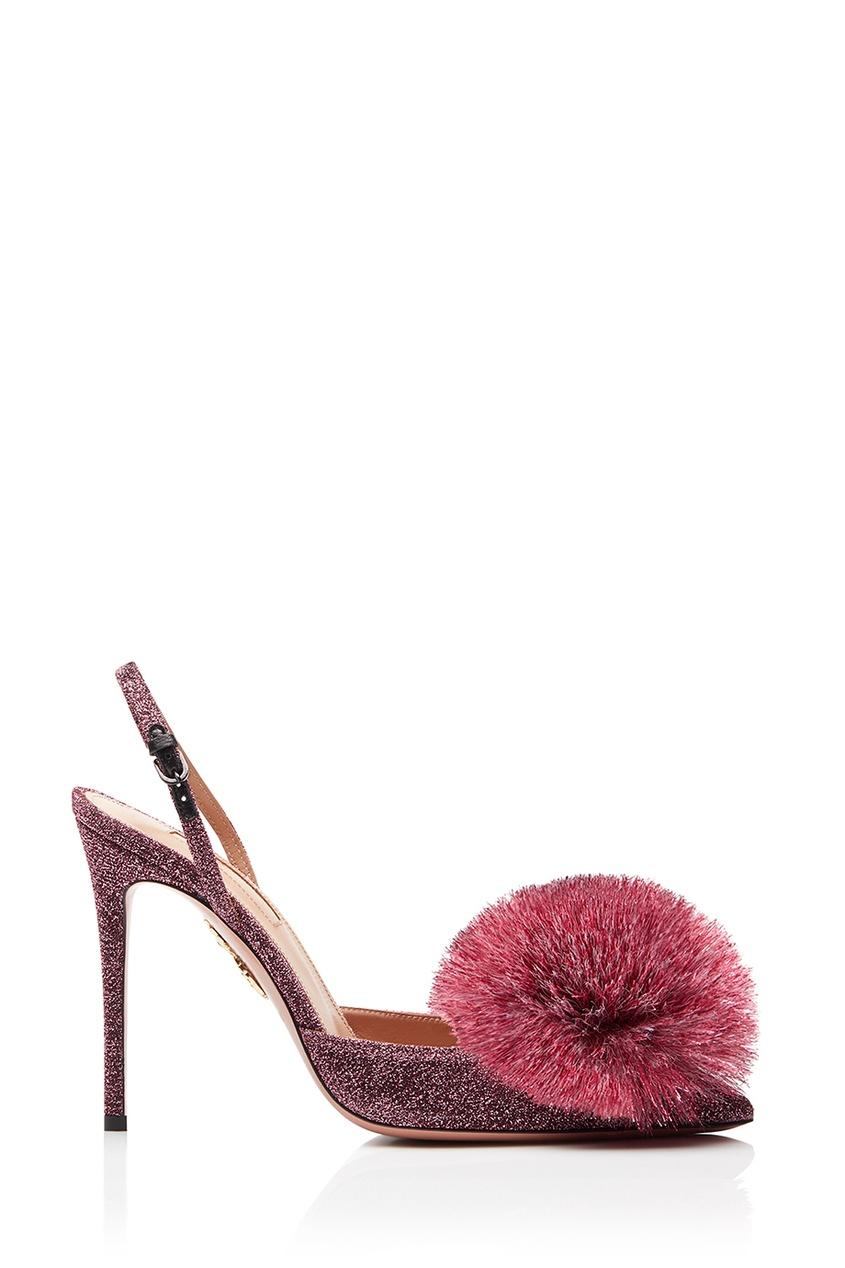 Aquazzura | розовый Туфли с люрексом Powder Puff Sling 105 | Clouty