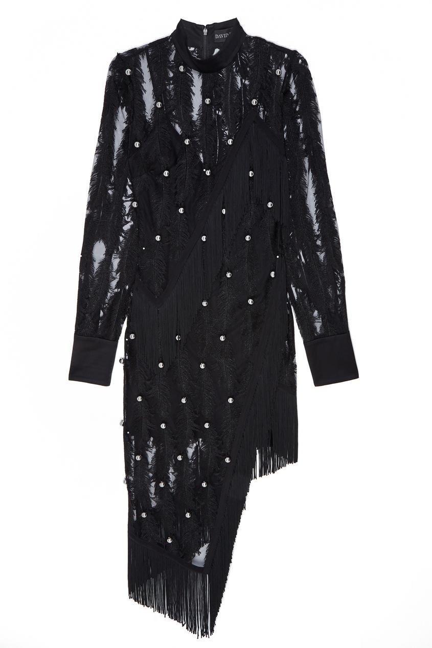David Koma | черный Ажурное платье с аппликацией | Clouty