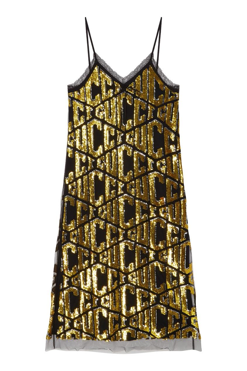 GUCCI | Золотой Платье миди с пайетками | Clouty