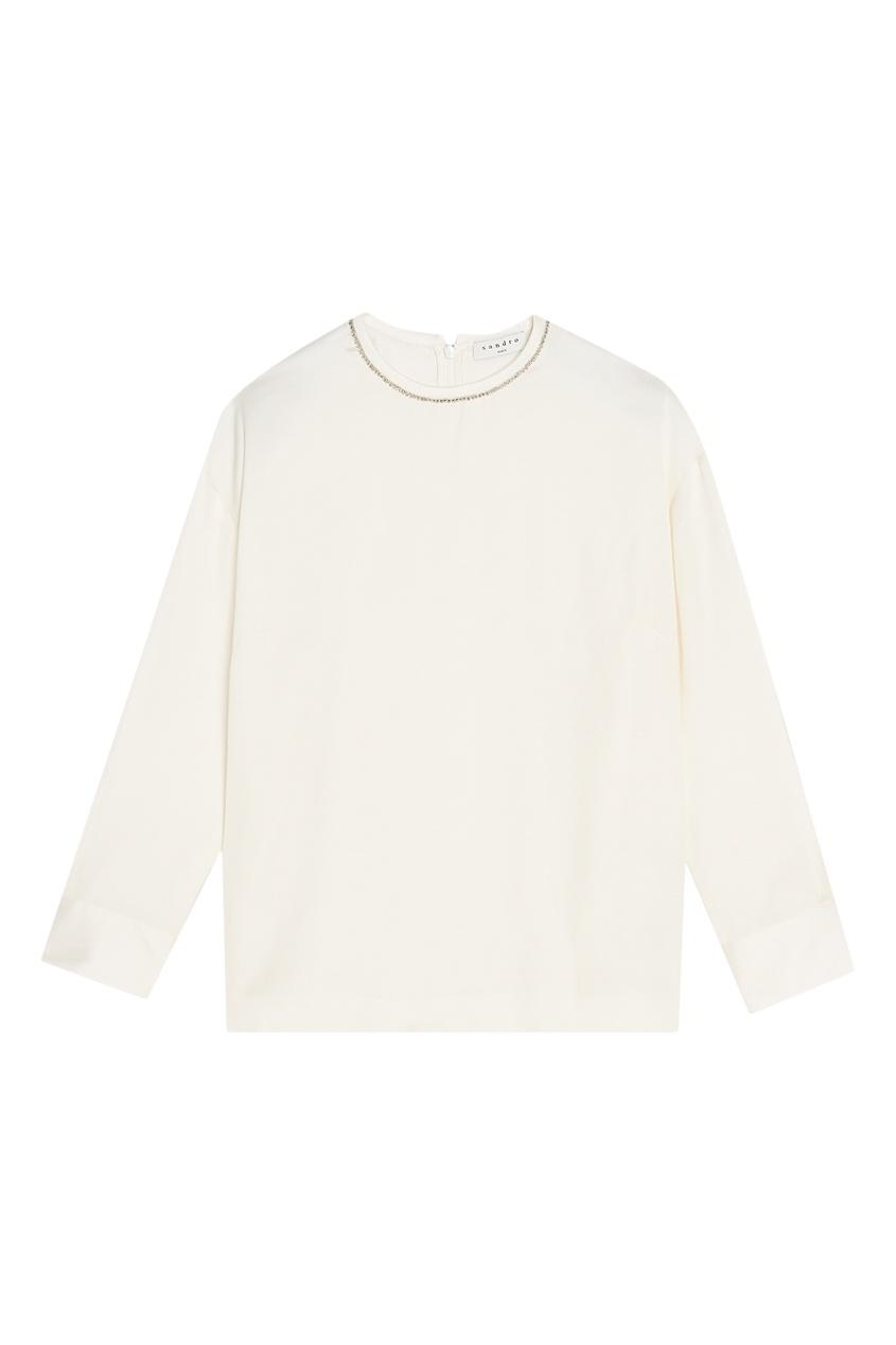 Sandro | бежевый Белая блузка с блестящей отделкой | Clouty