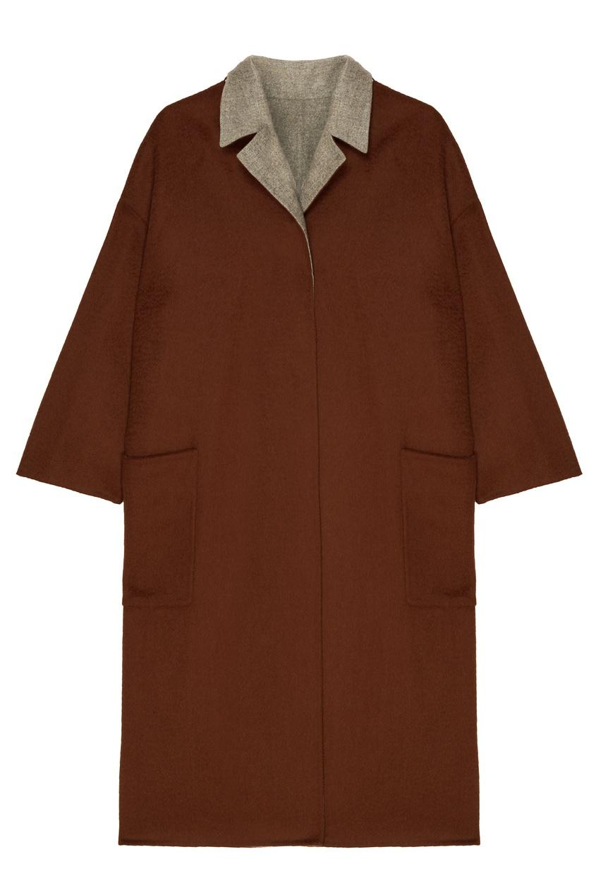 Chapurin | коричневый Двухсторонее шерстяное пальто | Clouty