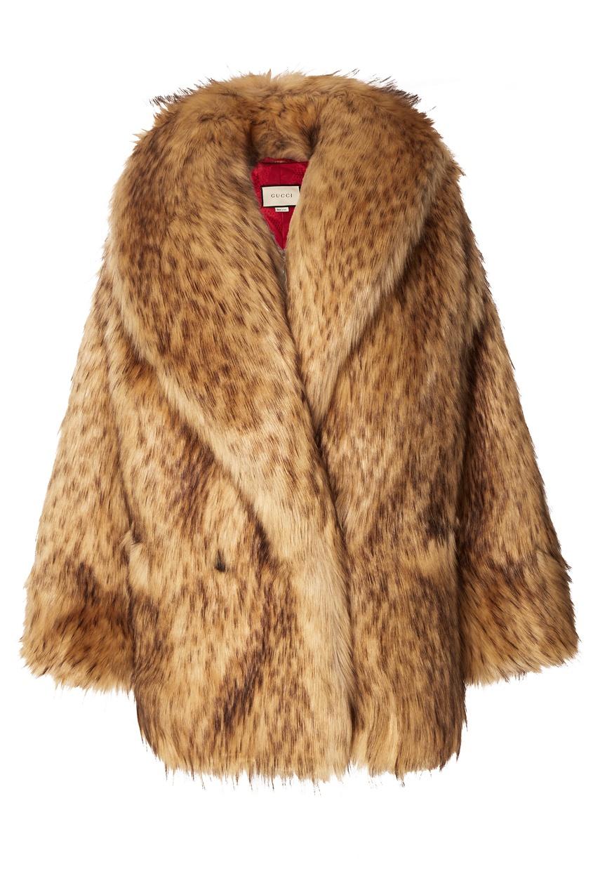 GUCCI | бежевый Куртка из искусственного меха | Clouty