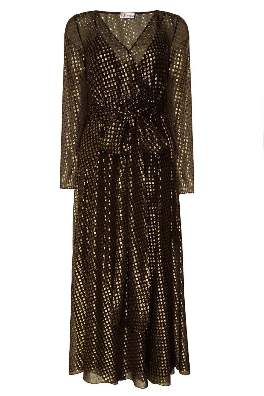 VALENTINO RED | Золотой Черное шелковое платье с отделкой | Clouty