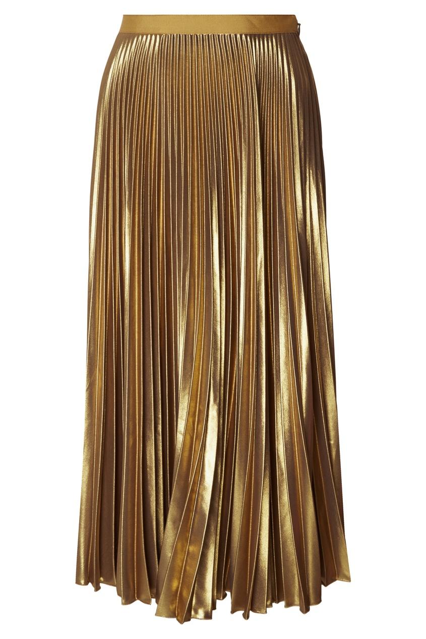 Dries Van Noten | Золотой Плиссированная золотистая юбка | Clouty