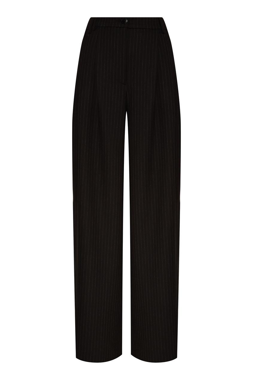 Essentiel Antwerp | черный Широкие полосатые брюки | Clouty