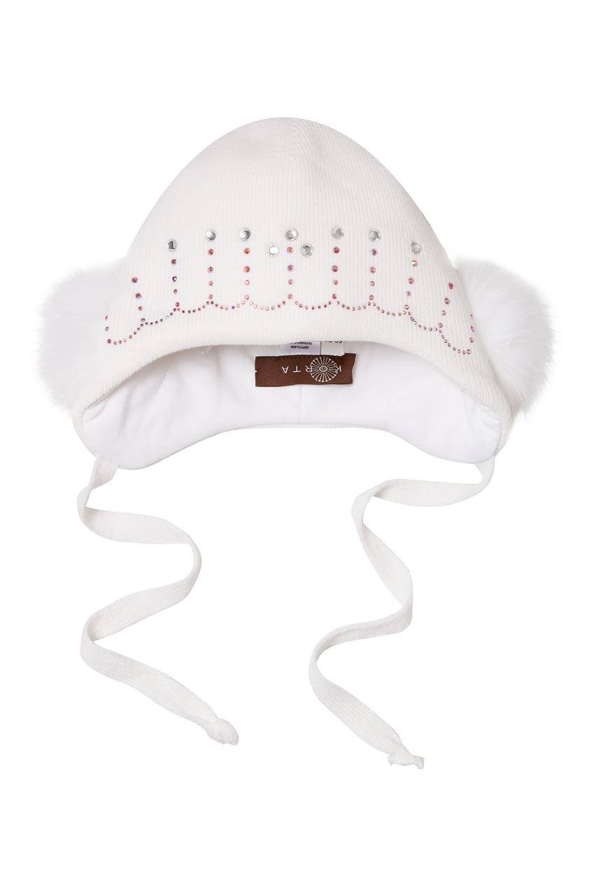 KORTA | белый Белая шапка со стразами | Clouty