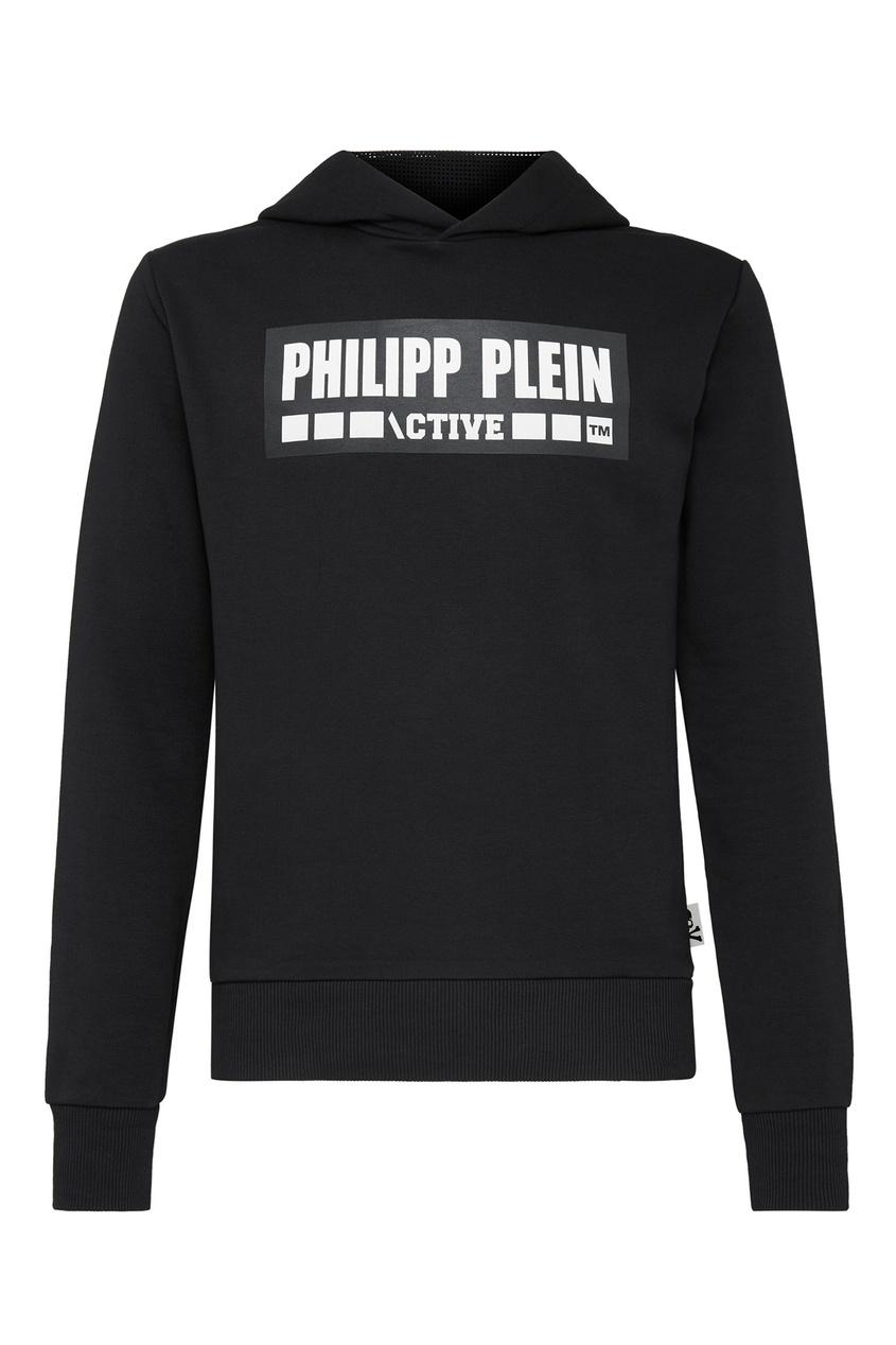 Philipp Plein | черный Черное худи с контрастным принтом | Clouty
