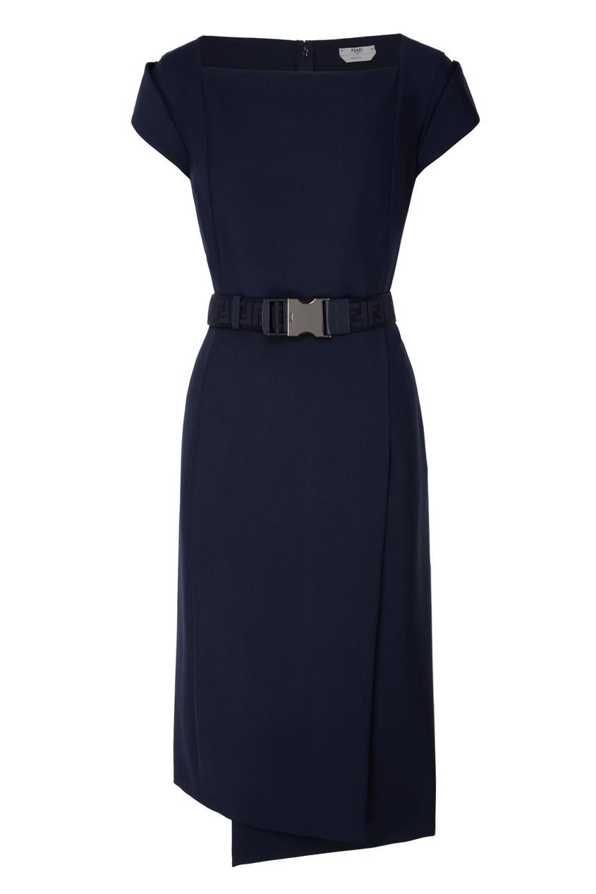 FENDI | синий Асимметричное платье-футляр | Clouty