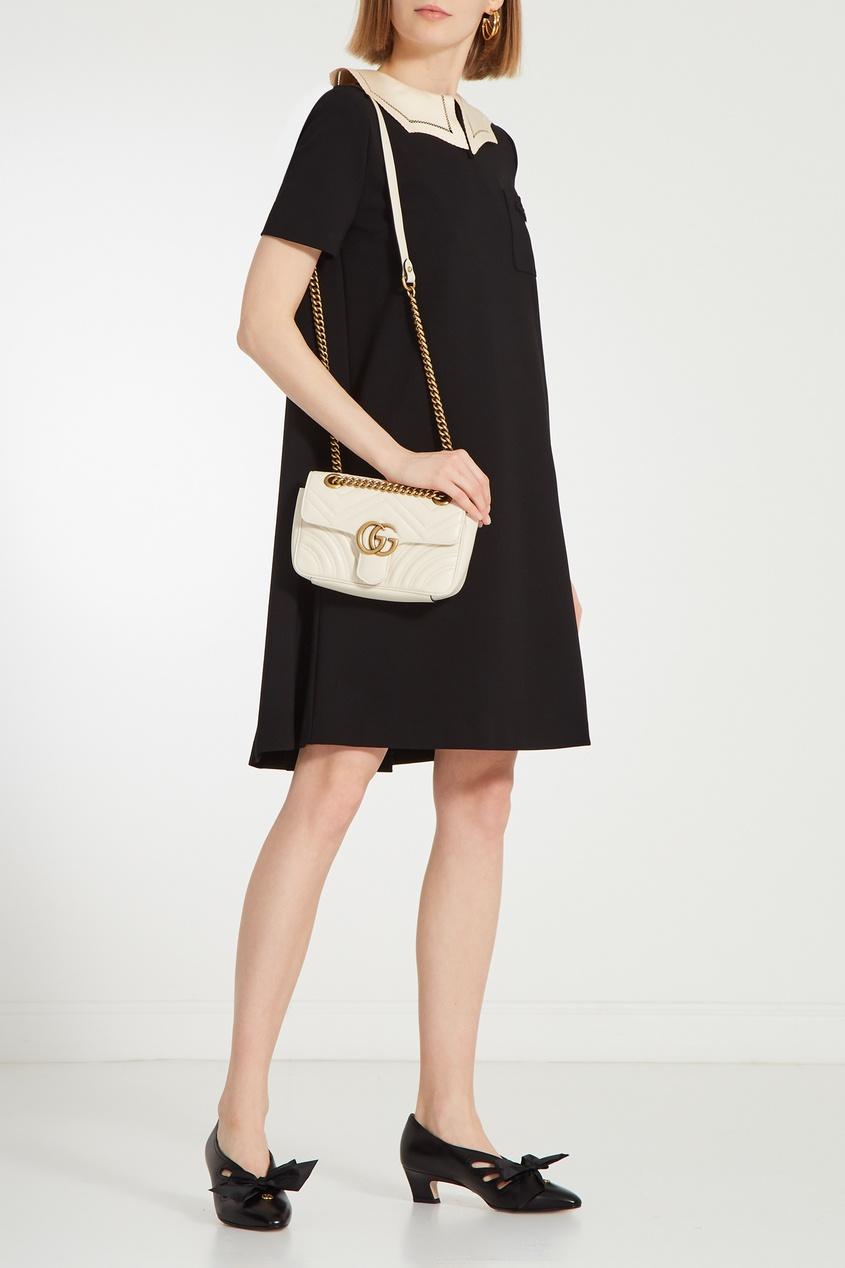 GUCCI | черный Черное платье с контрастным воротником | Clouty