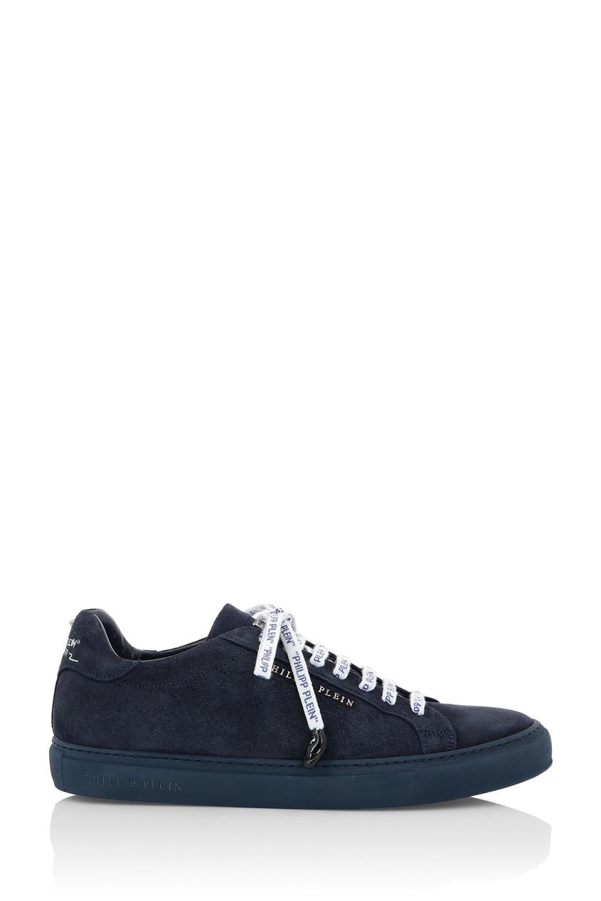 Philipp Plein | синий Темно-синие кеды с контрастной шнуровкой | Clouty