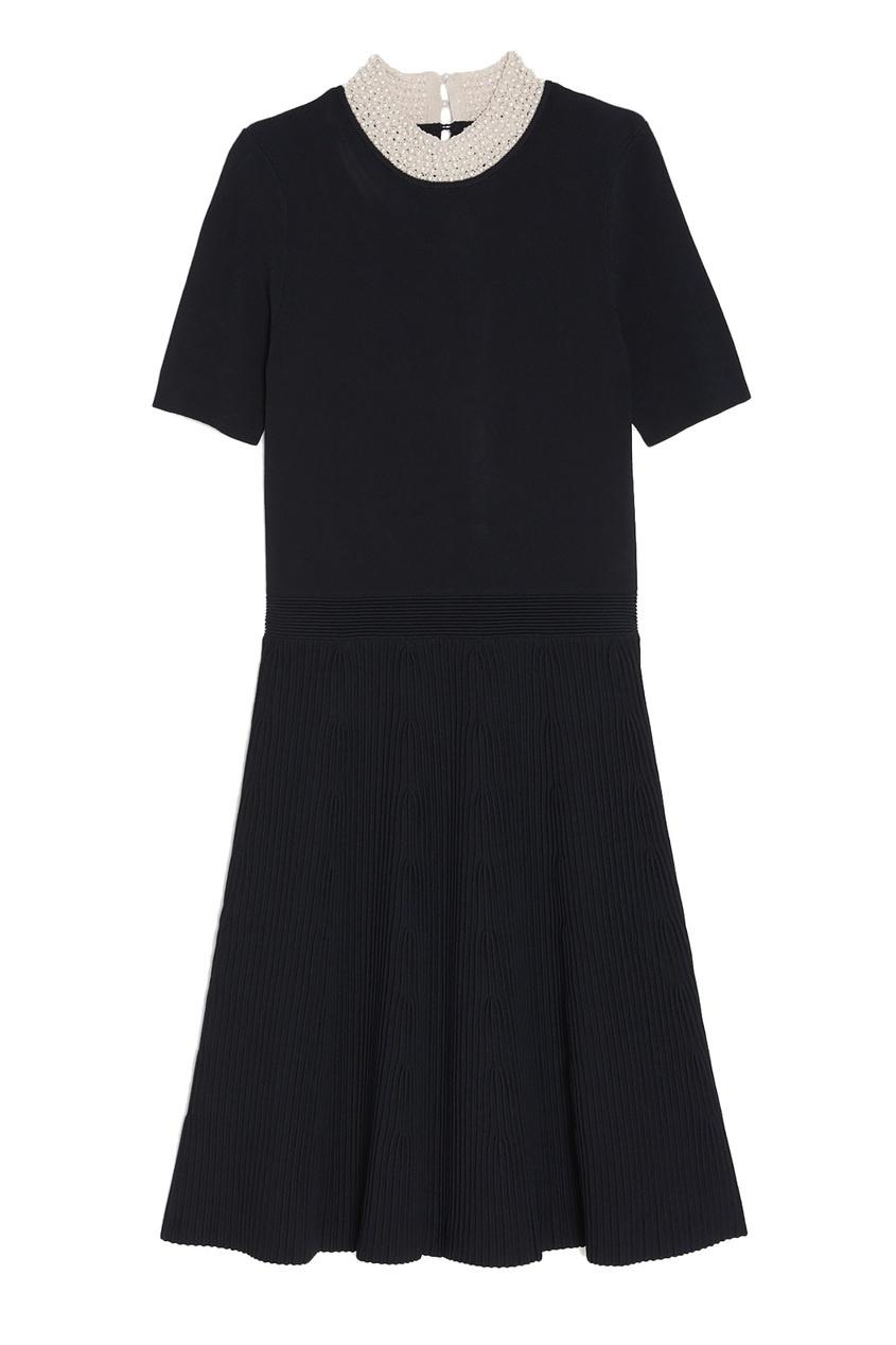Sandro | черный Черное платье с отделкой | Clouty