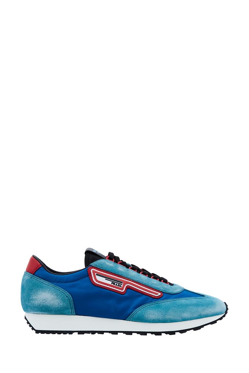 PRADA | синий Комбинированные голубые кроссовки | Clouty
