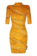 Фото Бархатное платье с принтом