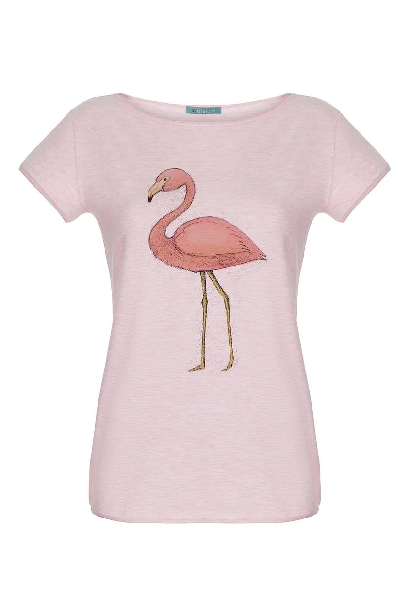 Lisa & Leo   розовый Розовая футболка с фламинго   Clouty