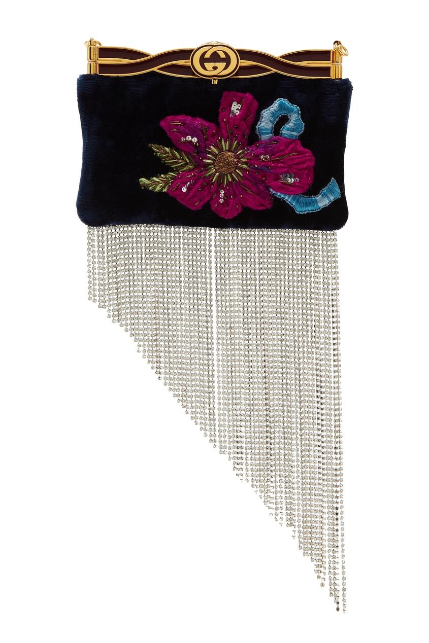 GUCCI | синий Бархатный клатч с вышивкой и стразами | Clouty