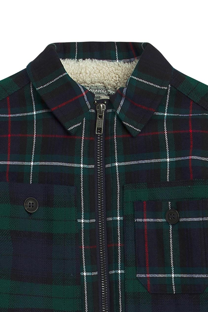 Bonpoint | синий Куртка в клетку на молнии | Clouty