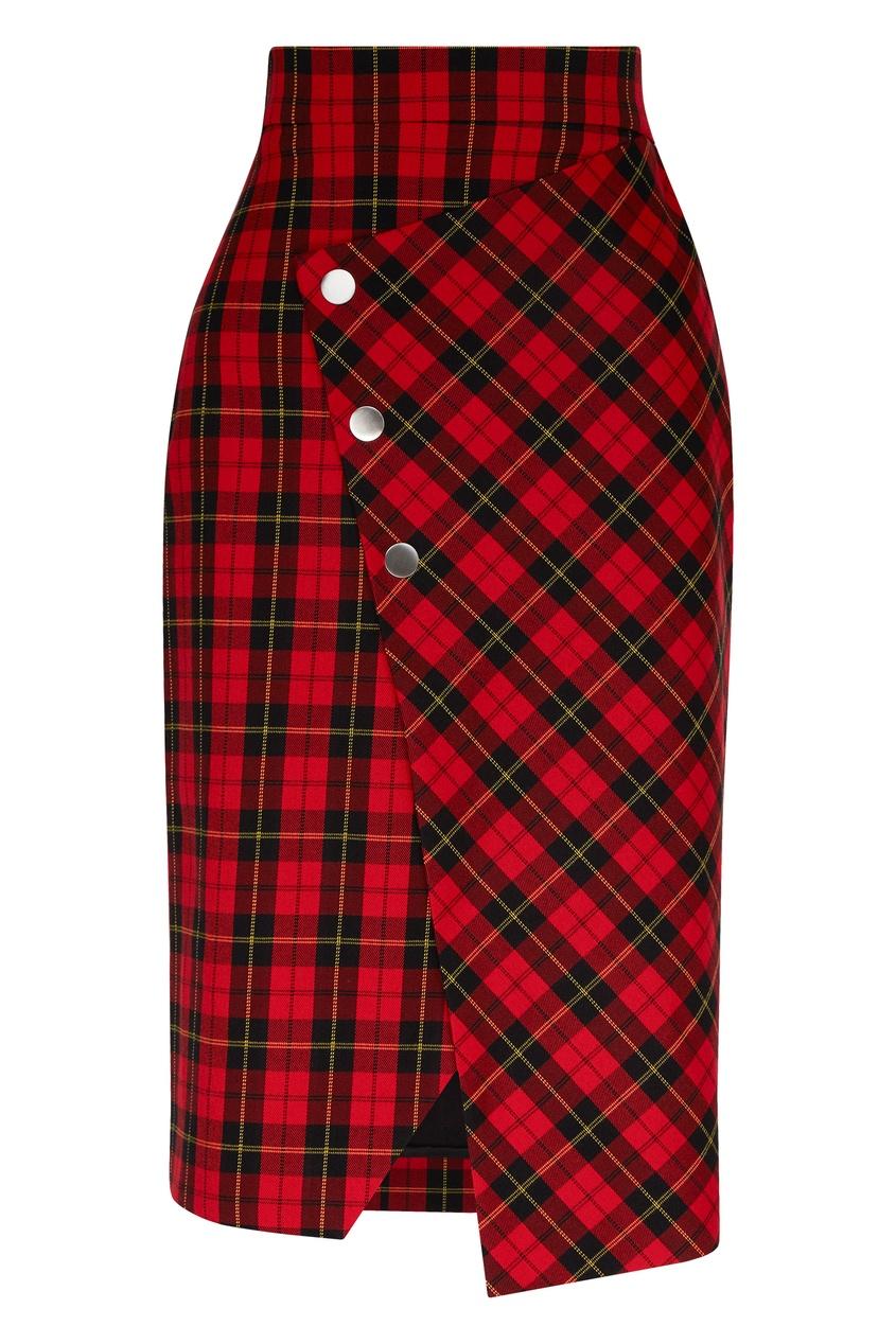 Maje   красный Асимметричная клетчатая юбка   Clouty