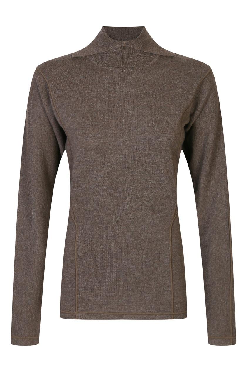 JIL SANDER | коричневый Коричневая шерстяная водолазка | Clouty