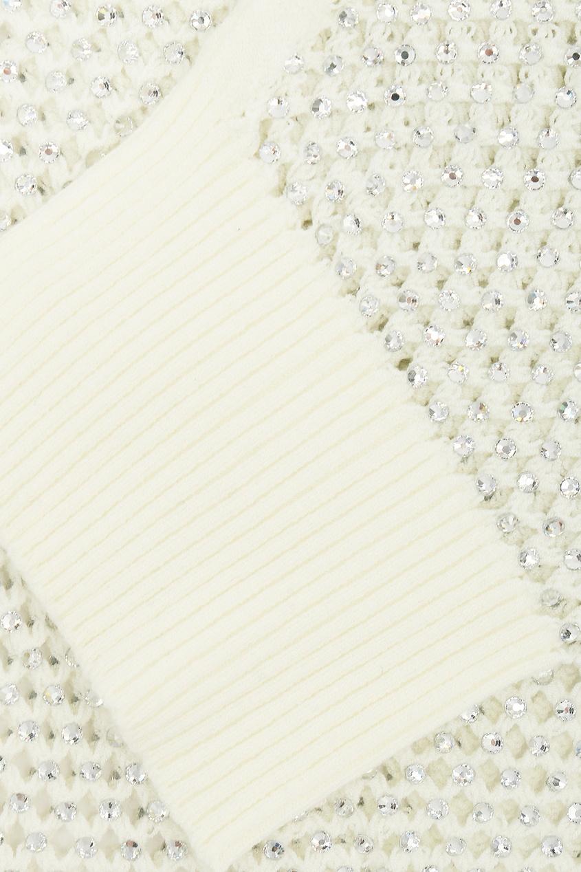 Ermanno Scervino | белый Молочно-белая ажурная водолазка с кристаллами | Clouty