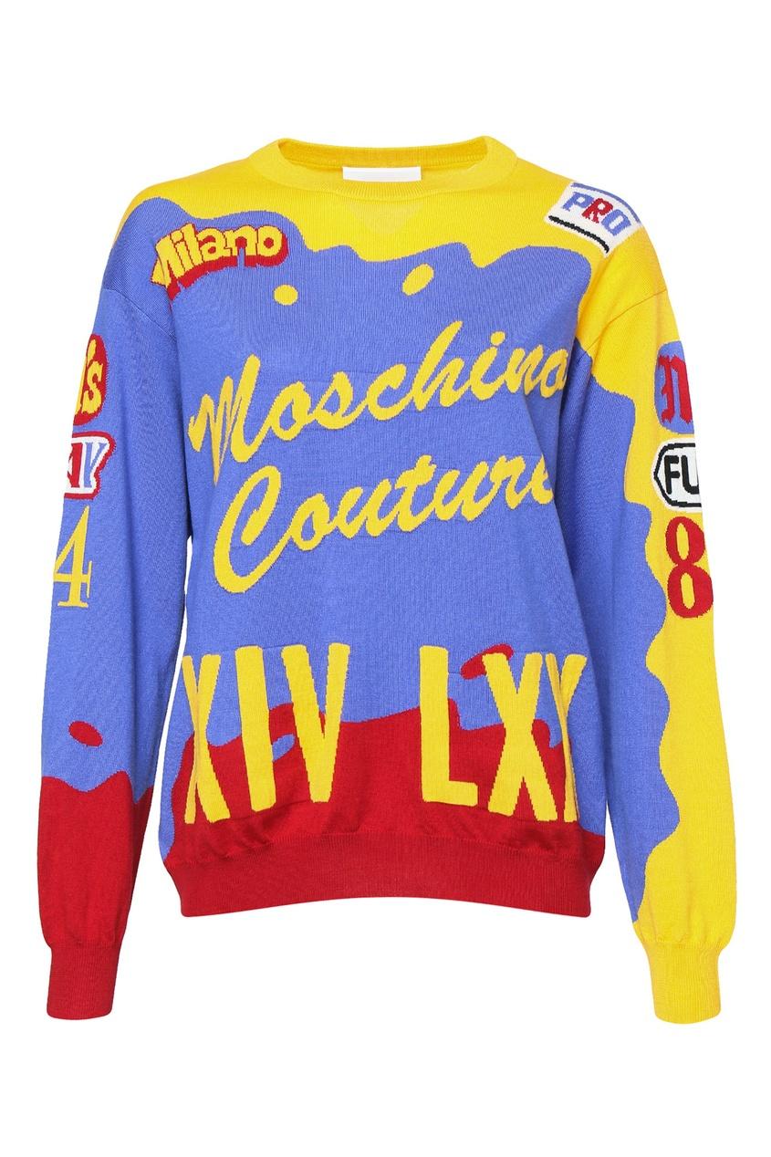 MOSCHINO | Multicolor Трехцветный джемпер из шерсти Moschino Couture | Clouty