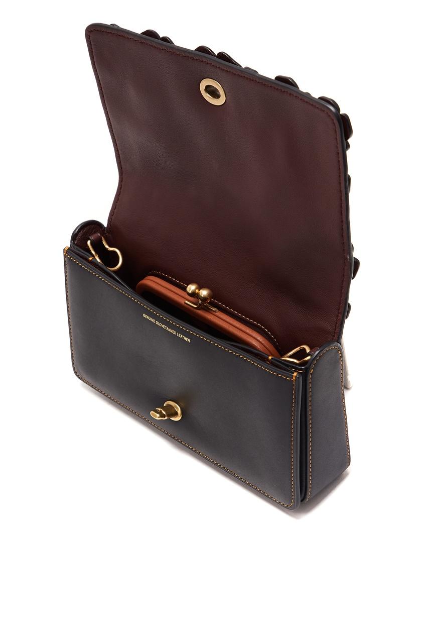 COACH | черный Кожаный клатч с объемными цветами Dinky | Clouty