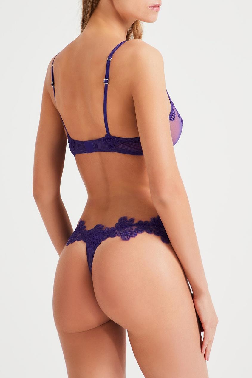 La Perla | фиолетовый Фиолетовые стринги с кружевом | Clouty