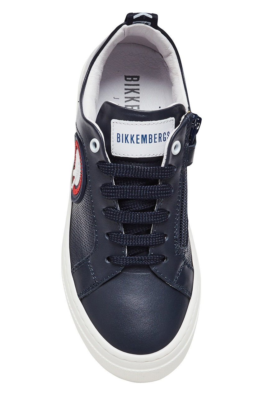 Bikkembergs   синий Серо-синие кожаные кроссовки   Clouty
