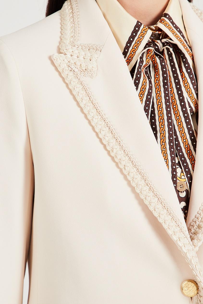 GUCCI | Белый жакет с плетеной отделкой | Clouty
