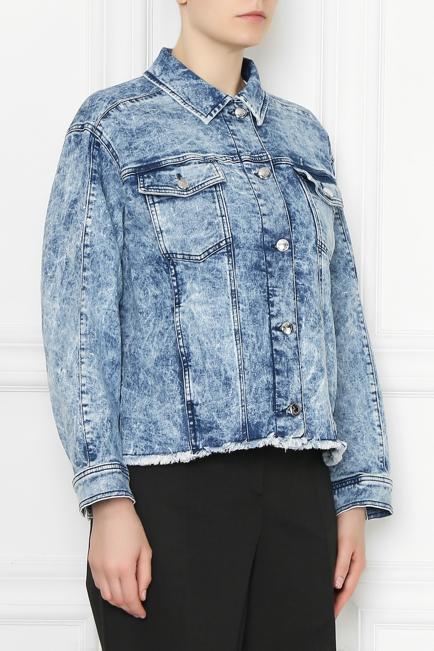 Marina Rinaldi | синий Синяя джинсовая куртка со стразами | Clouty