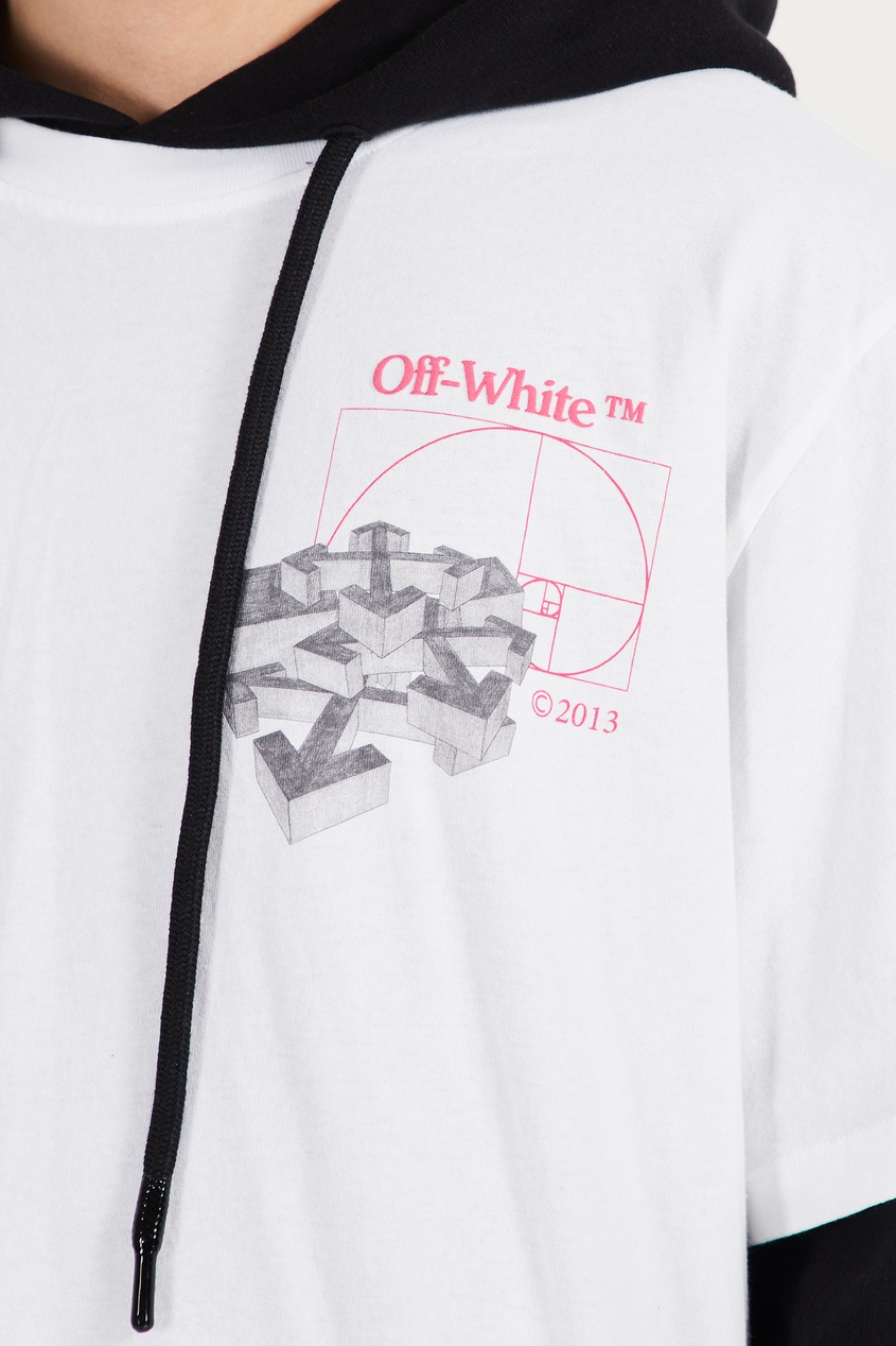 Off-White   белый Черно-белое двуслойной худи   Clouty