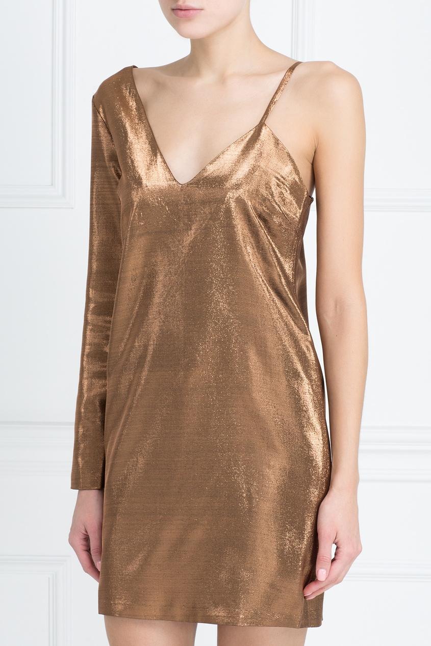 American Retro   Золотой Шелковое платье Mila   Clouty