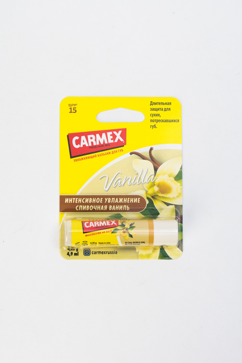 Carmex   Carmex Бальзам для губ с защитным фактором SPF 15 в стике, ваниль   Clouty