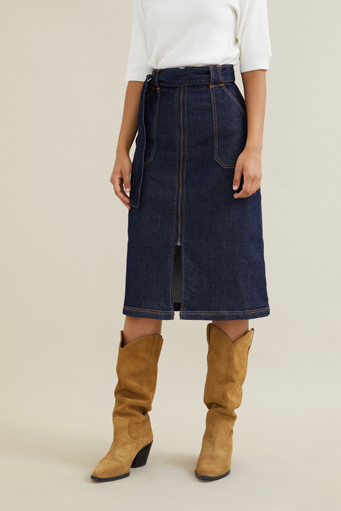 Zarina | ZARINA Джинсовая юбка-миди с поясом | Clouty