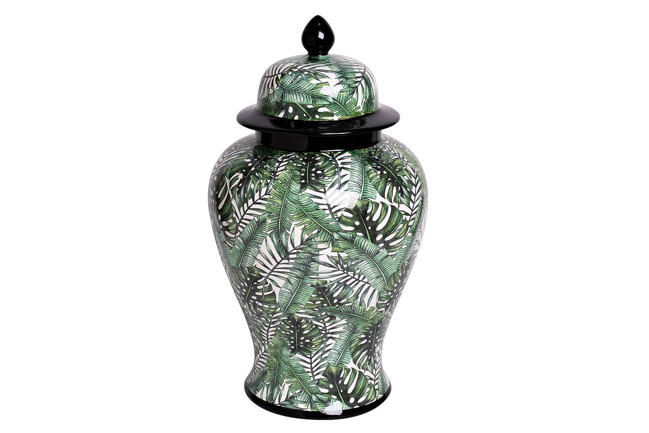 Inmyroom | Ваза керамическая с крышкой бело-зеленого цвета | Clouty