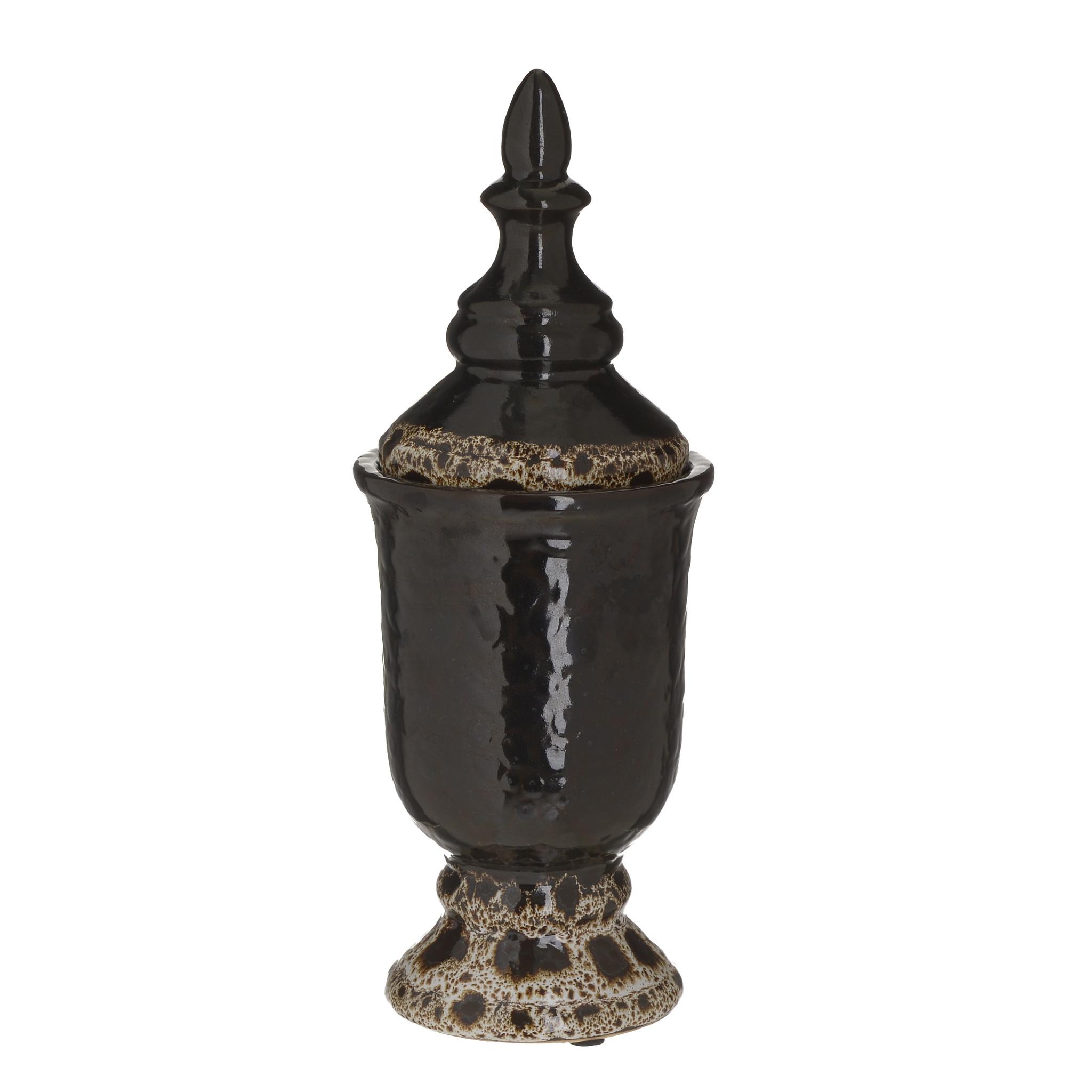 Inmyroom | Керамическая ваза с крышкой черного цвета | Clouty