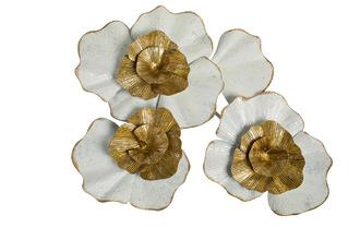 Фото Настенный декор цветы бело-золотого цвета