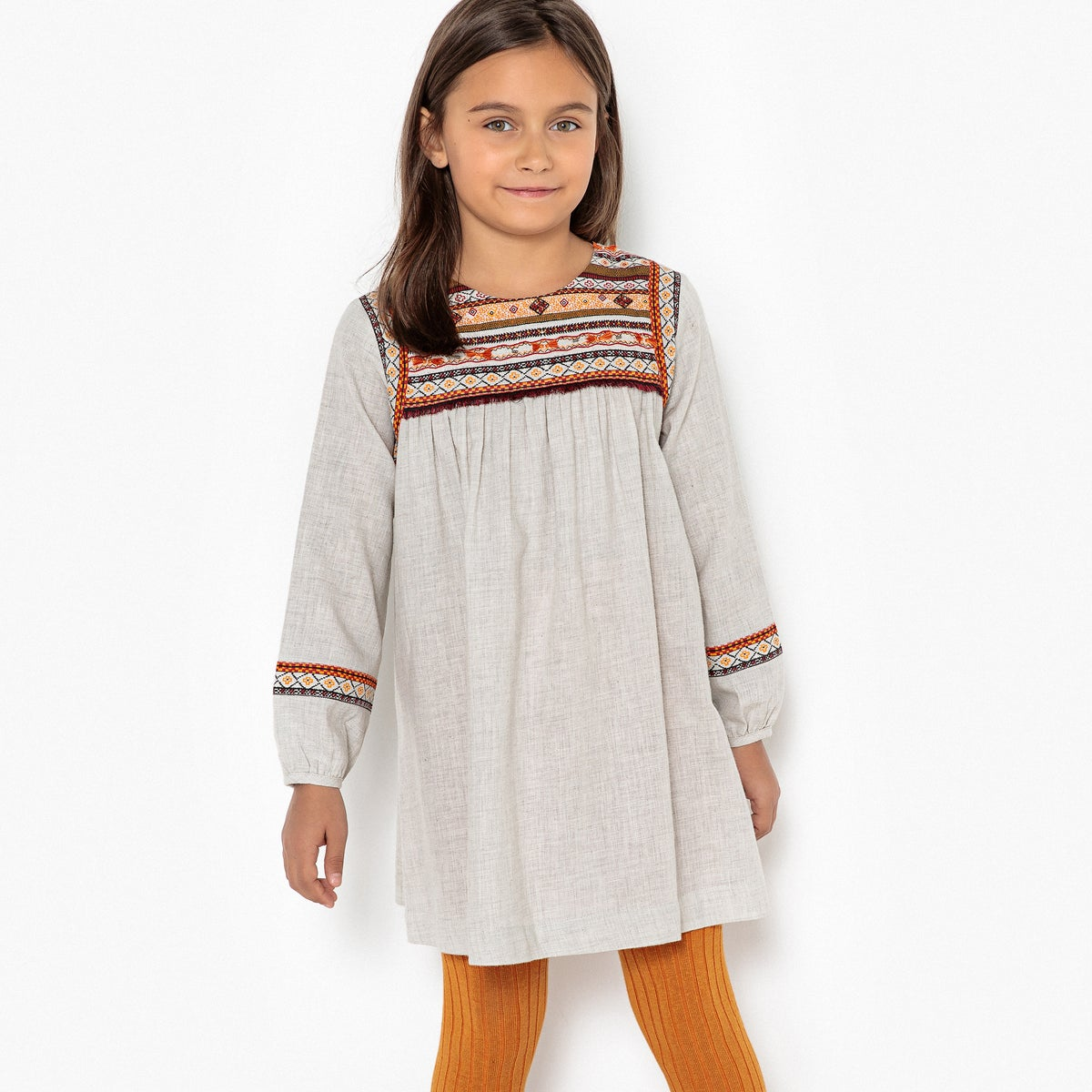La Redoute Collections | Серый Меланж Платье с длинными рукава с вышивкой 3-12 лет | Clouty