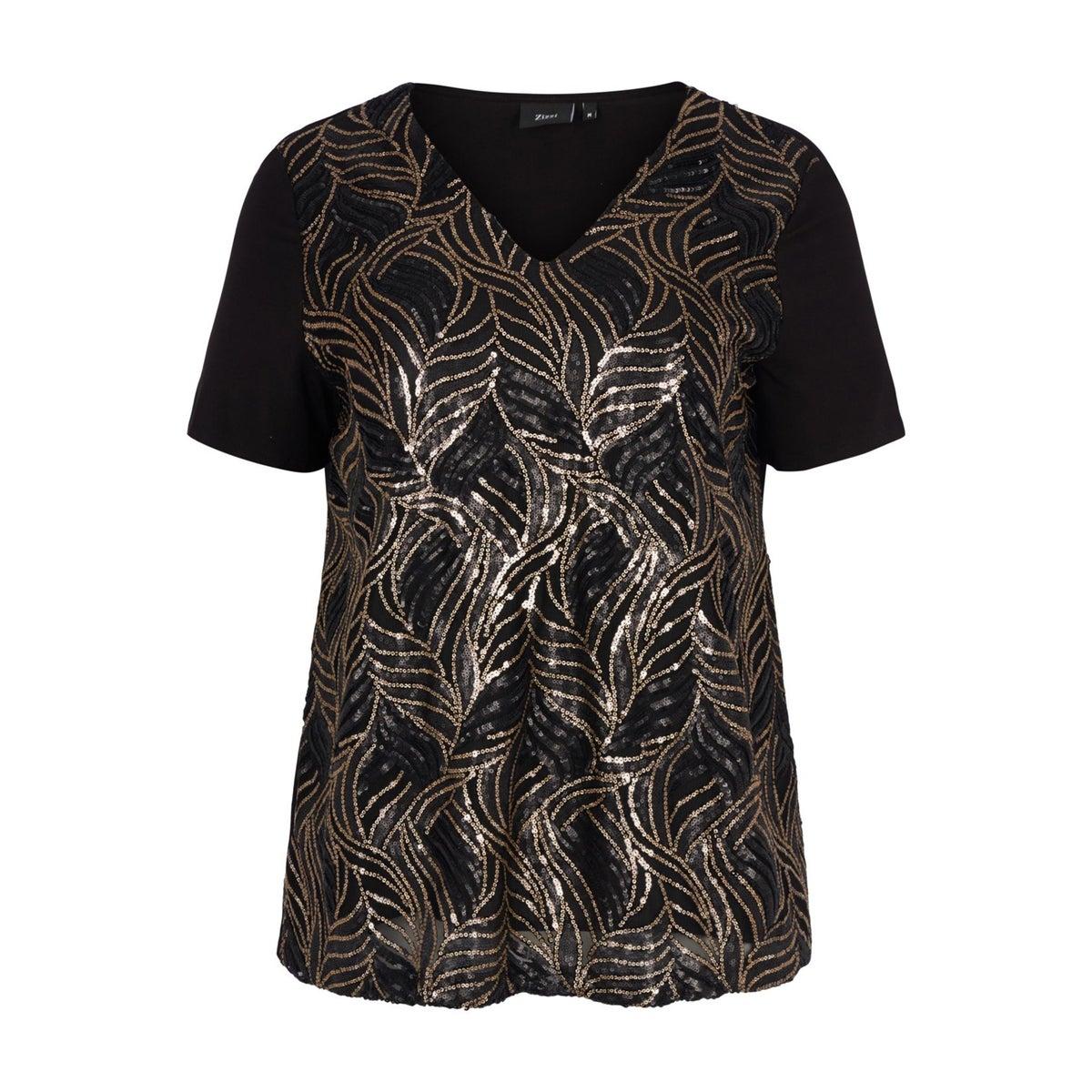 Zizzi | Черный Блузка с V-образным вырезом и короткими рукавами | Clouty