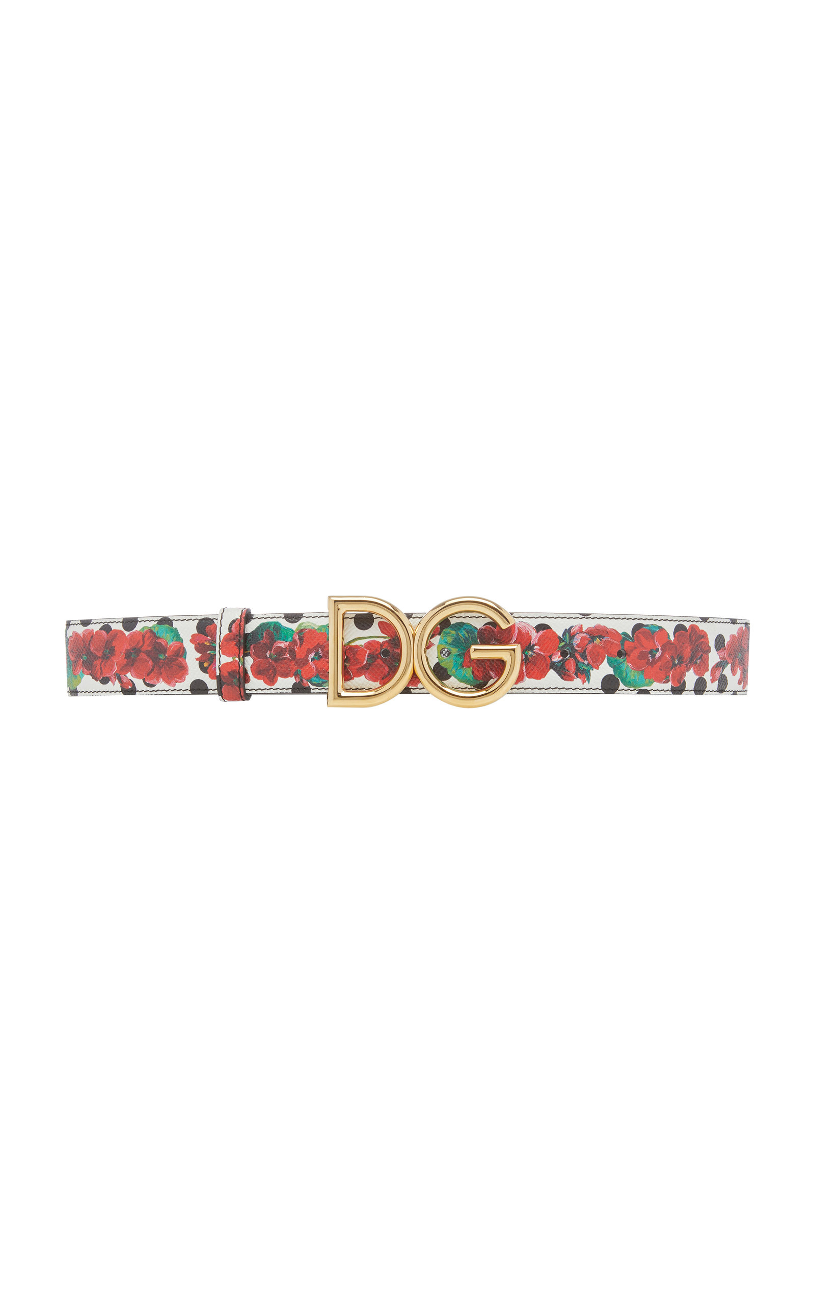 Dolce & Gabbana | Dolce & Gabbana Floral-Print Leather Logo Belt | Clouty