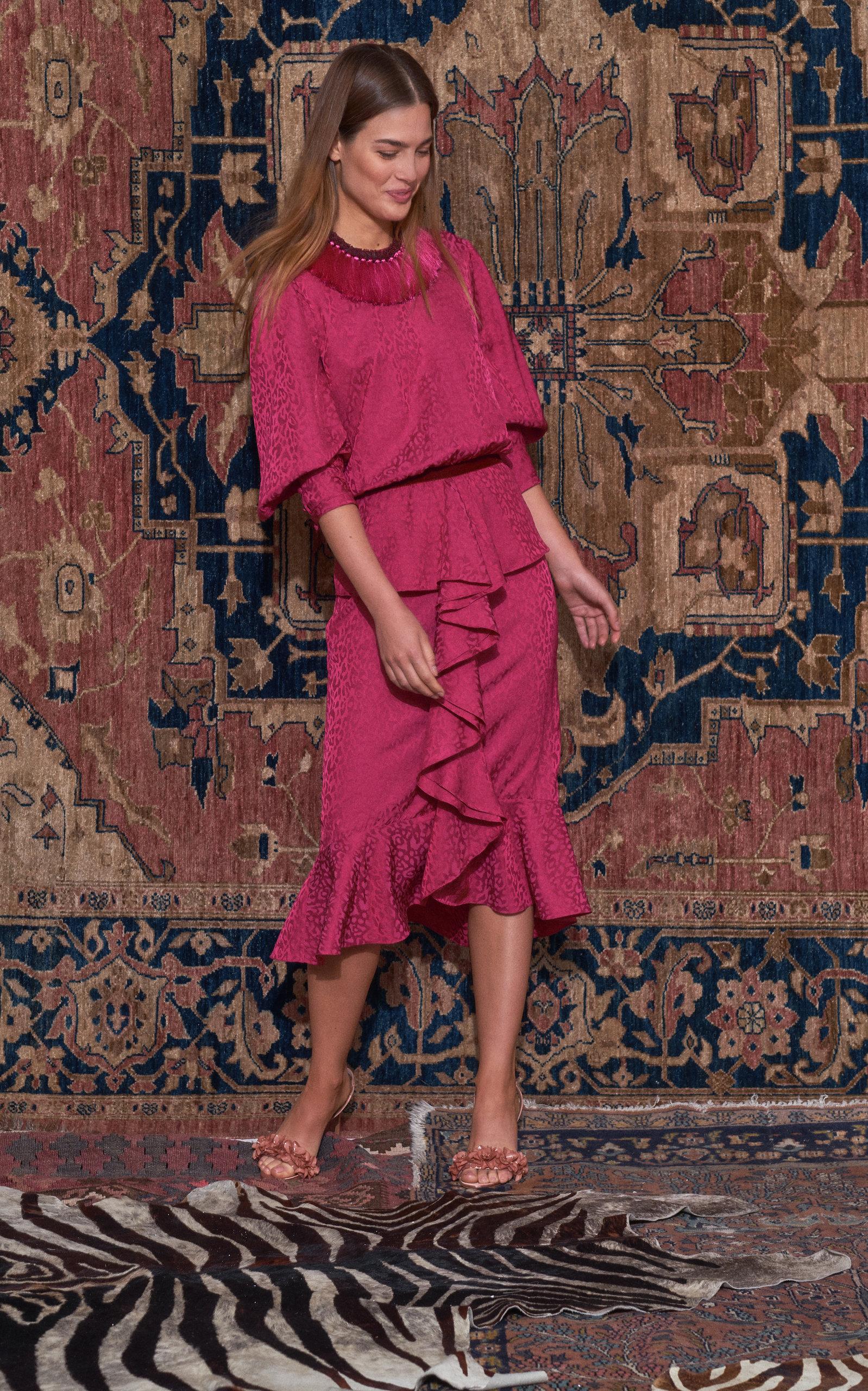Johanna Ortiz   Johanna Ortiz Harlem Renaissance Ruffled Crepe Midi Dress   Clouty