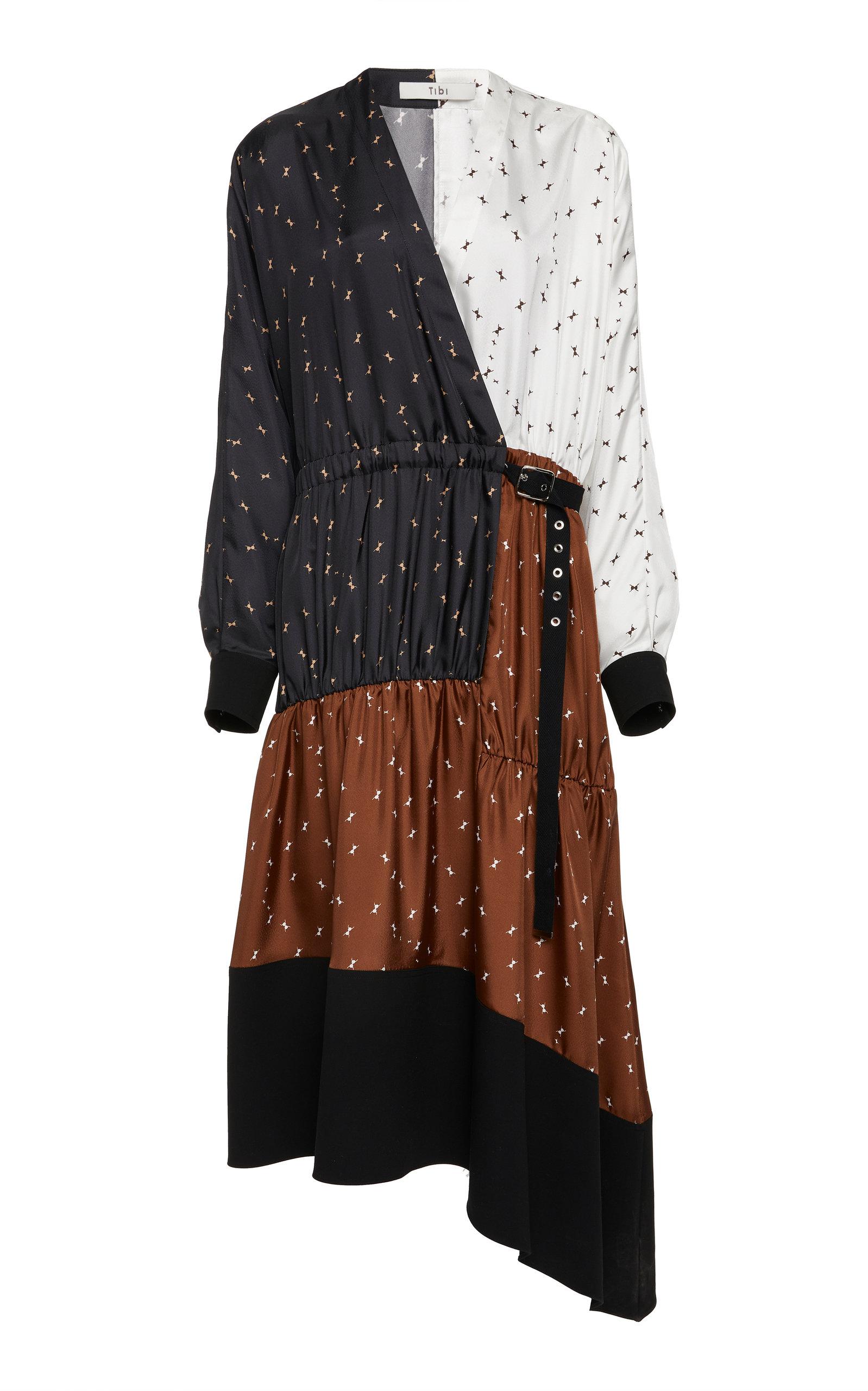 TIBI | Tibi Patchwork Wrap Crepe Midi Dress | Clouty