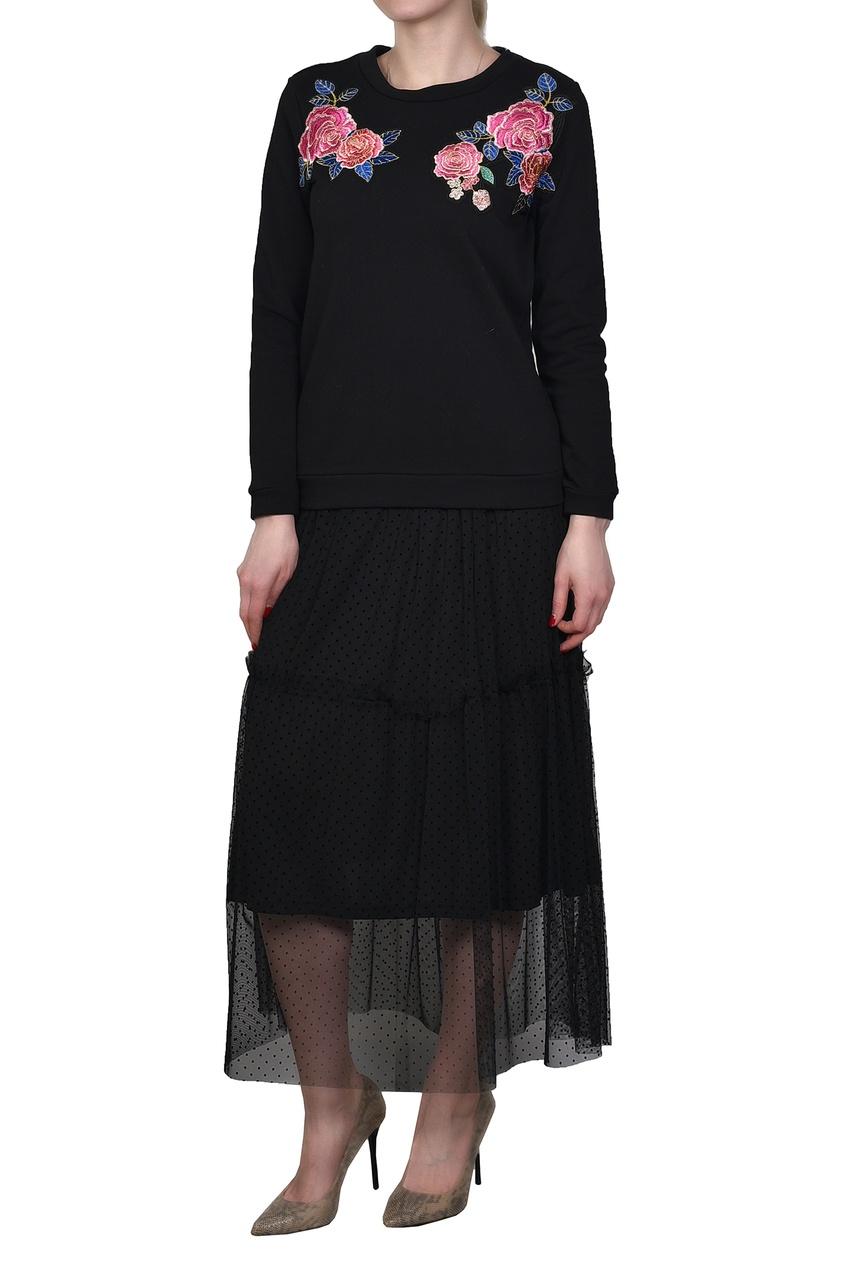 Silvian Heach | черный Черное комбинированное платье с вышивкой | Clouty
