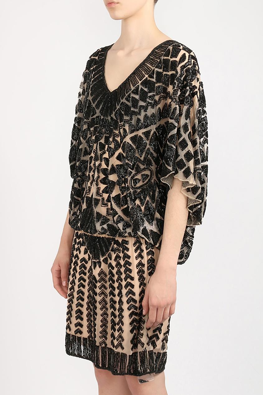 Forever Unique | черный Платье с вышивкой бисером | Clouty