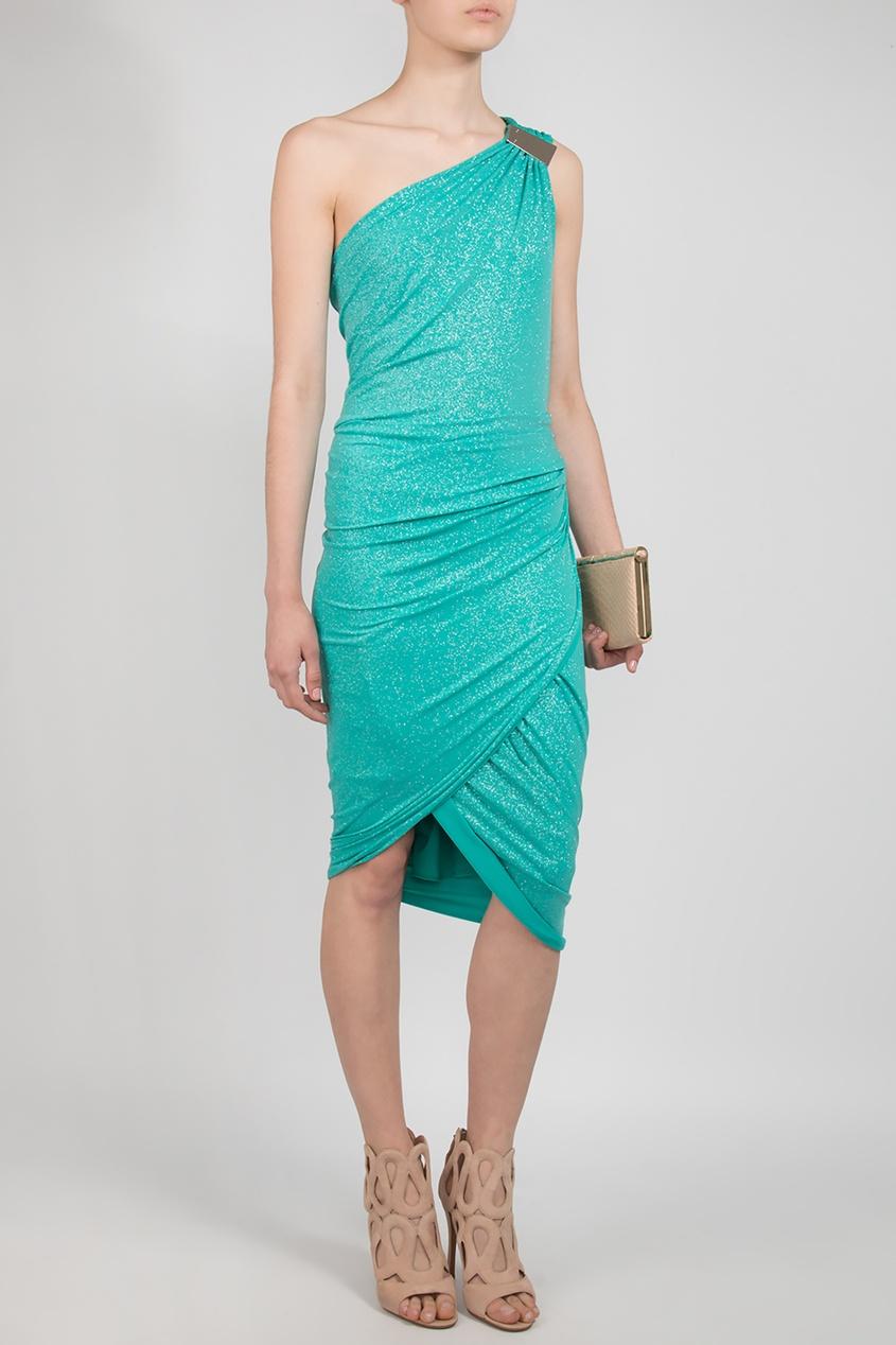 Forever Unique | бирюзовый Бирюзовое платье с открытым плечом | Clouty
