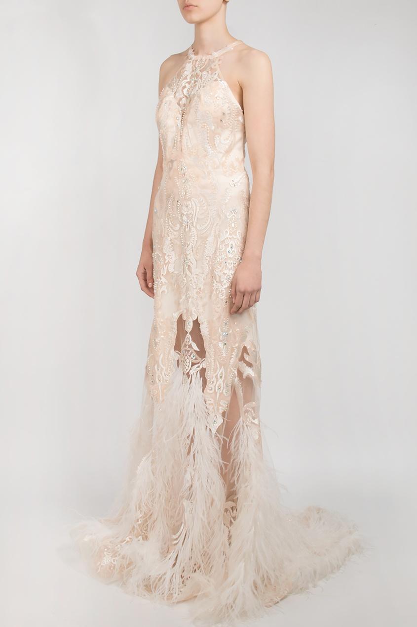 Forever Unique | бежевый Бежевое вечернее платье с перьями | Clouty