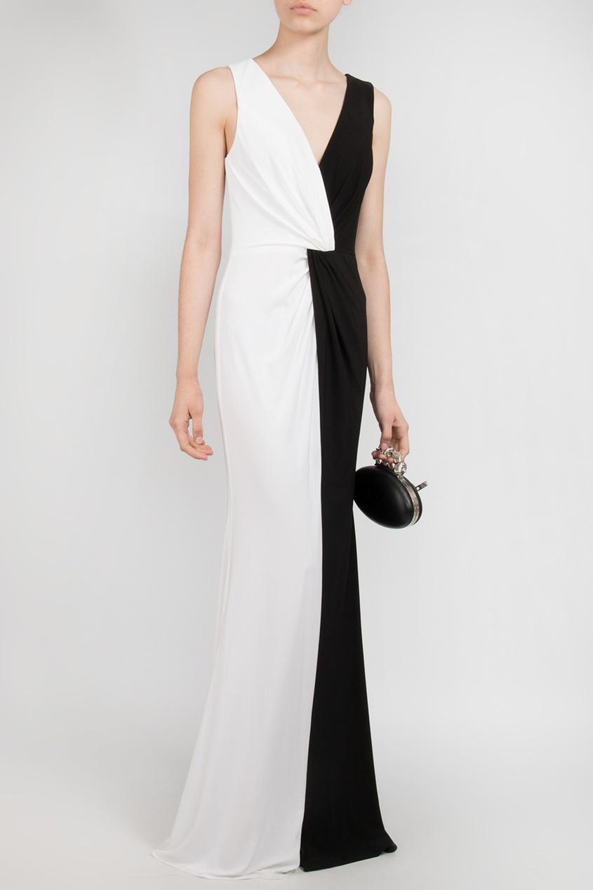 Forever Unique | белый Черно-белое платье в пол | Clouty