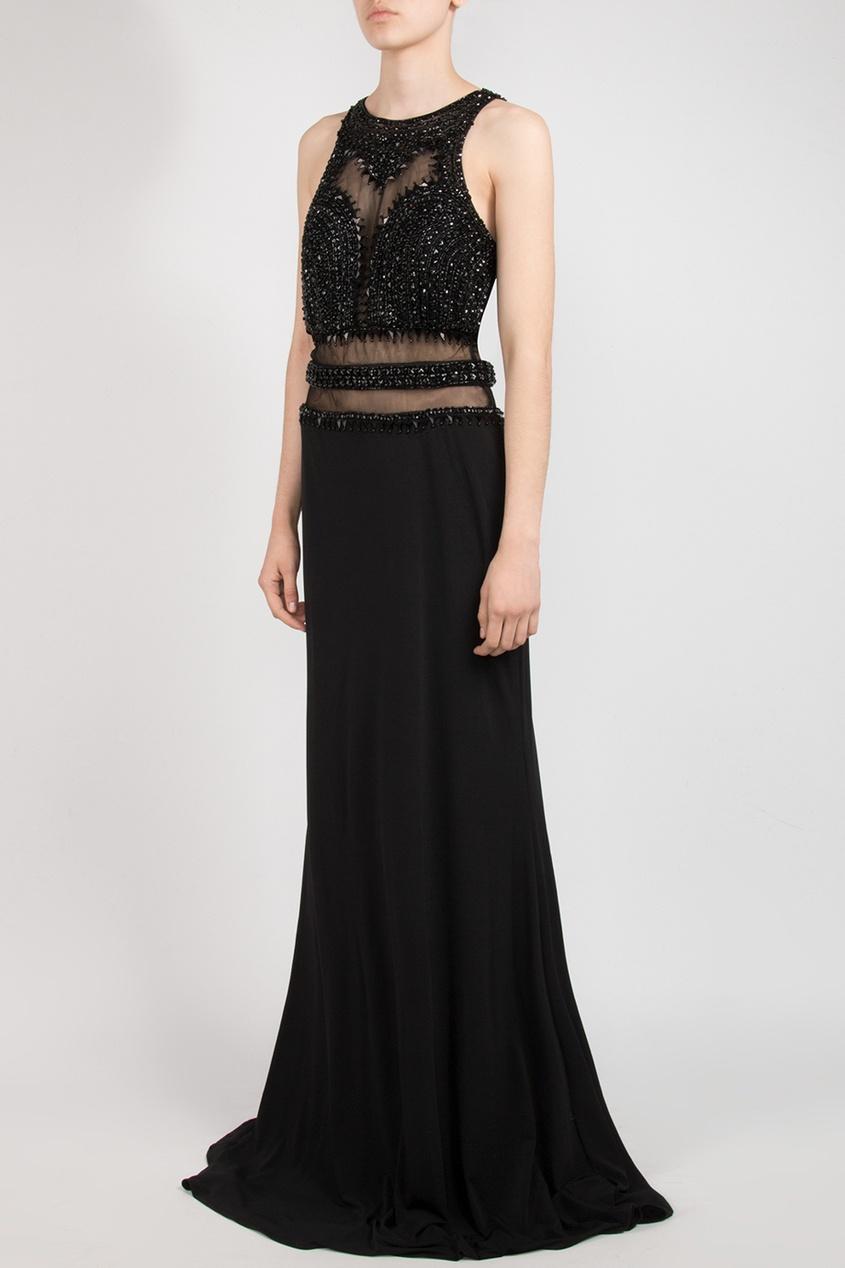 Forever Unique | черный Черное макси-платье с кристальной отделкой | Clouty