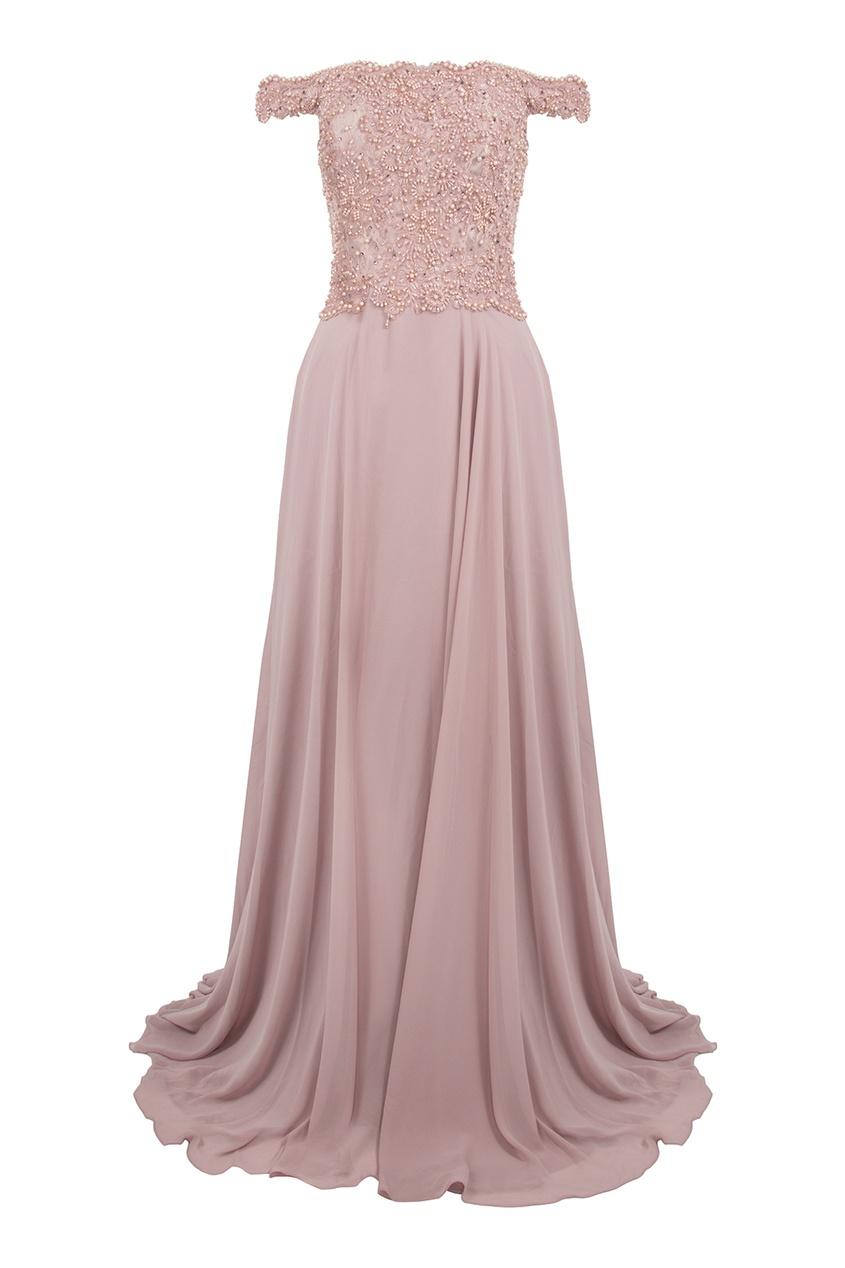 Forever Unique | розовый Лиловое макси-платье с декорированным лифом | Clouty