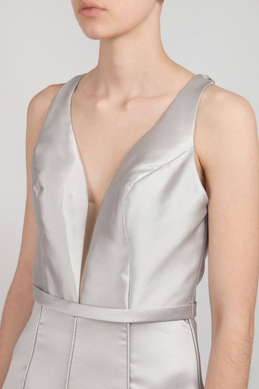 Forever Unique | Серебряный Серебристое платье в пол | Clouty